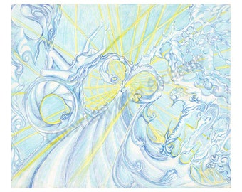 "Fine Art Print ""Firmament,"" Signed, Matted, and Backed, Symbolist, Visionary Art"