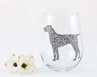 Dog wine glass / German wirehaired pointer / Labrador / Pet owner gift / Custom hand painted stemless wine glass