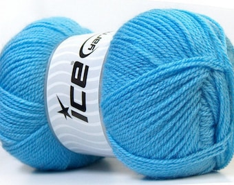acrylic yarn balls in 100grs color blue ICE brand yarns