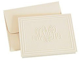 50 Classic Frame embossed monogram notes