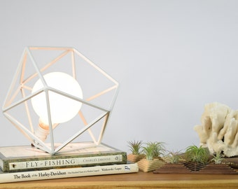 Table Lamp, Modern Geometric Edison Bulb Lamp, The Mercedes Geometric Table Lamp, UL Certified Residential Commericial, WHITE