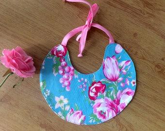 Pretty baby bib, handmade , girls bib, Jennifer Paganelli  fabric special occasion bib.