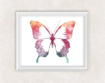 Butterfly Art Watercolor Print - Modern Minimalist Art - Home Decor 8x10 PRINT - Item #735C