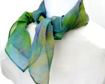 Silk Scarf, Bandana, Hand dyed Scarf, 22 x 22 inches, Made in Australia, Ready to Ship, Gift for her, SallyAnnesSilks  BS19