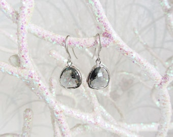 Bezel Charcoal dangle earrings/drop earrings/dangle earrings