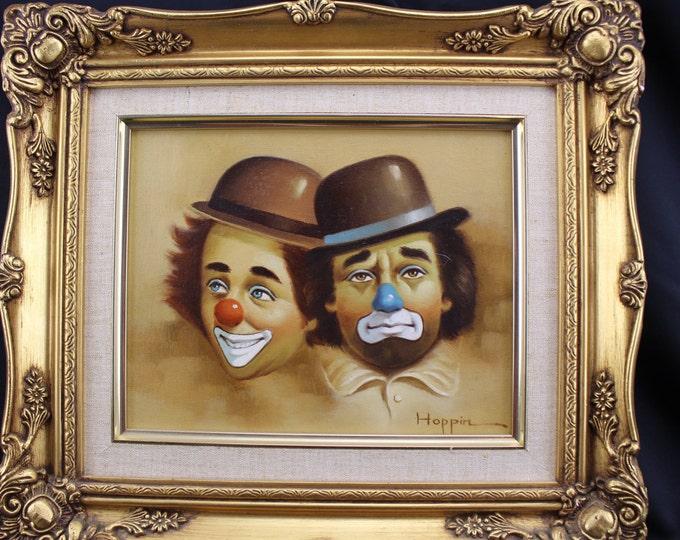 Original Oil Painting Hoppins Clowns Framed Signed