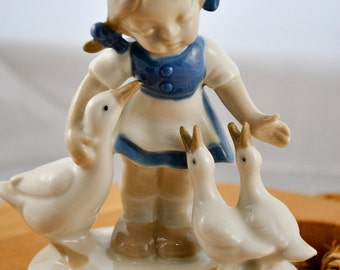 G & H Co Girl with Geese figurine, Bavaria Germany