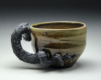 Rustic ceramic mug, Wheel thrown pottery, Earthy roots vines, Wheel thrown mug, Organic brown green, handmade ceramic mug, botanical plants