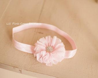 SOFT PINK Headband, Pink headband with Rhinestone, Baby Headband, Infant Headbands, Pink Newborn Headband, Pink Headbands, Newborn Headbands