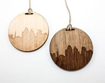 City Skyline of Greenville South Carolina - Christmas Ornament - Laser Cut Wood - Personalized Gift Commemorative Keepsake