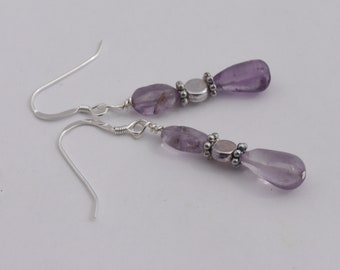 "Amethyst Earrings, Gemstone Beads, February Birthstone, Sterling Silver, French Hooks, Dangle 1.25"""