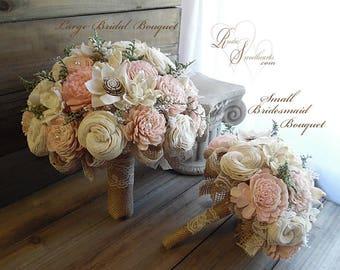 Rustic Blush Pink Wedding Bouquet, Sola Flowers, Burlap, Lace.