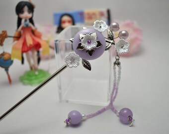 Chinese Sliver Flower Purple Moon Hair Accessories Hair Clip Hair Pins Hair Stick