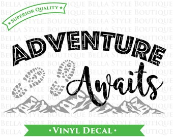 Adventure Awaits Hiking Mountains VINYL DECAL Two Color