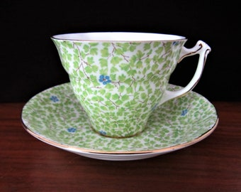 Sampson Smith Old Royal Green Floral Chintz Bone China Tea Cup And Saucer Set. Made In England