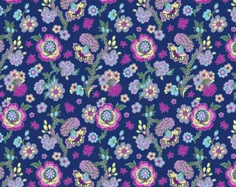 Indigo Midnight Bloom - Night Music Collection by Amy Butler - Quilt fabric by the Half-Yard or Full Yard