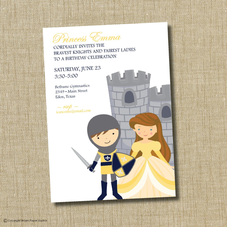 Princess and Knight birthday invitation.