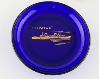 Vintage Souvenir SS FRANCE Cruise Ship Advertising Cobalt Blue Glass Tray Dish Ocean liner Cunard Lines Norway Trinket Pin Ashtray Coin Dish