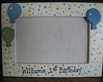 Personalized First Birthday Frame - children boy girl party photo picture frame