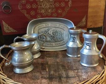Tableware Gothic Medieval Wilton Armetale Pewter Tray Salt \u0026 Pepper Shakers Creamer Sugar Bowl Five Pieces & Wilton creamer | Etsy