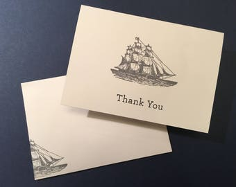 Nautical Theme with Ship - Thank You or Note Cards - Set of 10