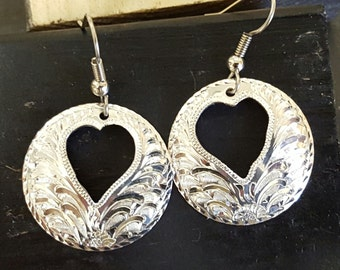 Sterling silver earrings,  hand engraved, hearts
