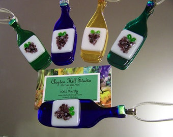 Wine Bottle Ornament - Fused Glass