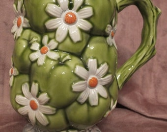 1967 Inarco Green Daisy Pitcher