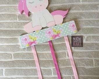 Unicorn Bow Clip Holder Storage Personalised