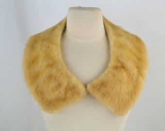 Vintage Honey Blonde Mink Fur Collar with Satin Backing, Palomino Real Mink Fur