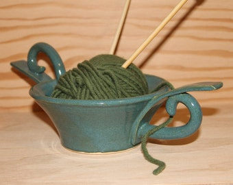 Ceramic Yarn Bowl. Potpourri Bowl.  Turquoise Bowl. Ceramic.  Decorative Bowl.  Price Reduced