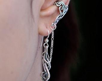 Ear Cuff Chain Ear Cuff Sterling Silver Ear Wrap Silver Arabesque Bajoran Ear Cuff Swirl Jewelry Wave Jewelry Dangle Ear Cuff Celtic Jewelry