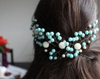 Green blue hair vine, bridesmaids accessory, promotions hair accessory