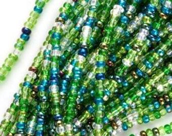 11/0 seed beads mix Jablonex Czech bead size 11 Bead Mix Evergreen mix-1 hank seed beads green rocaille bead mix weaving embroidery
