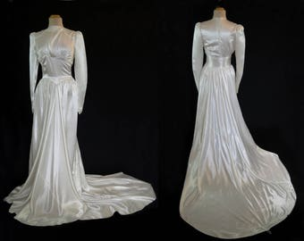 1930s Vintage - Vintage Wedding Gown - Satin Wedding Gown With Train - Bust 86-89 cm