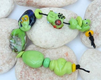 Mixed Lime Lot, Orphans Lampwork Bead Set SRA