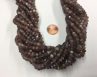 Chocolate Moonstone Rondelles Faceted