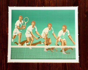 "Holiday Sale ~ Vintage, Mod, William Omurcada, Hand Pulled Serigraph, ""Net Shot"", Limited Edition 103/475, 1976, Tennis Art, Hand Signed"
