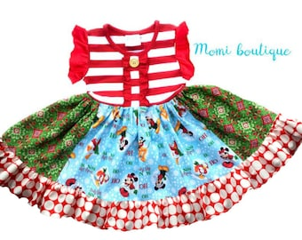 Mickey Mouse Minnie Mouse Disney Christmas dress Momi boutique custom dress