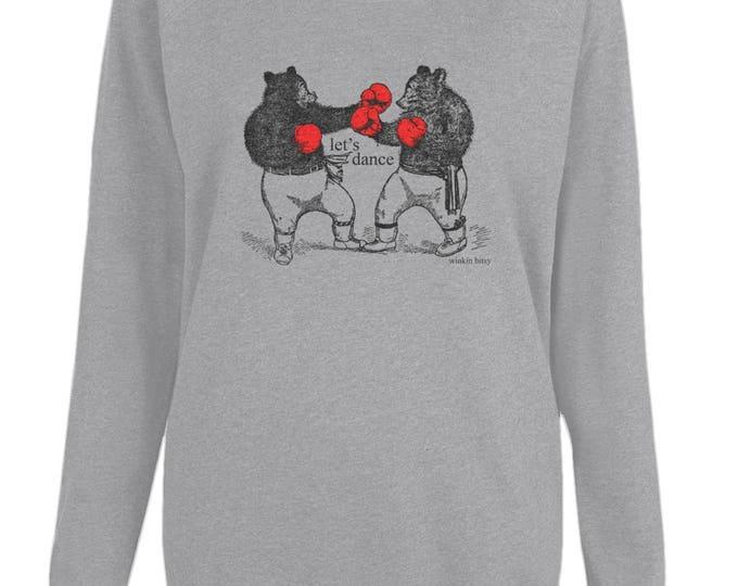 Let's Dance Boxing Bears WomensOrganic Cotton Raglan Sweatshirt. Grey.