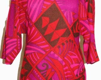 1960s Womens Paisley Wool Dress Sz 8 Vintage Hippie Retro