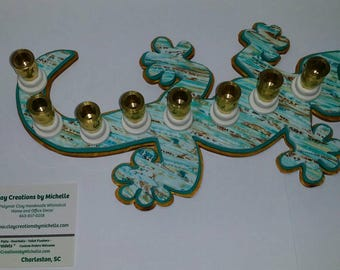 Lizard Gecko - Silhouette Menorah - Turquoise Teal Gold
