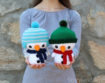 PATTERN: Cuddle-Sized Snowman Amigurumi, Crocheted Snowmen Pattern, Snowman Toy Tutorial, PDF Crochet Pattern, Holiday Winter Crochet