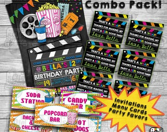 Movie Party Pack! • Birthday Invitations, Party Favor Tags & Party Food Display Cards!