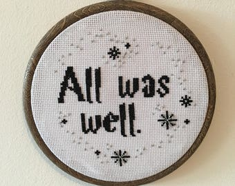 All was well cross stitch - Harry Potter