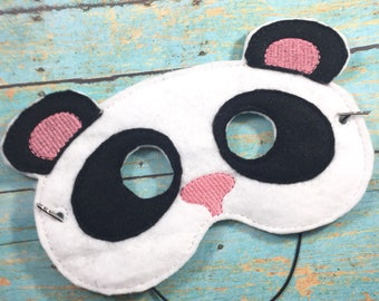 Panda Bear felt mask - dress up - toddler mask - panda Halloween costume - whimsical Halloween ideas - party favors - panda masks - panda