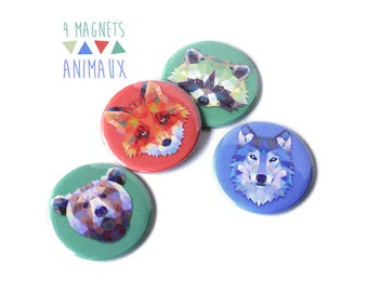 4 animal magnets 56 mm Wolf Fox bear raccoon graphic colorful orange green blue