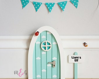 Personalised fairy door pastel blue with blue polka-dot fabric miniature bunting - pretend play - tooth fairy door - elf - clouds