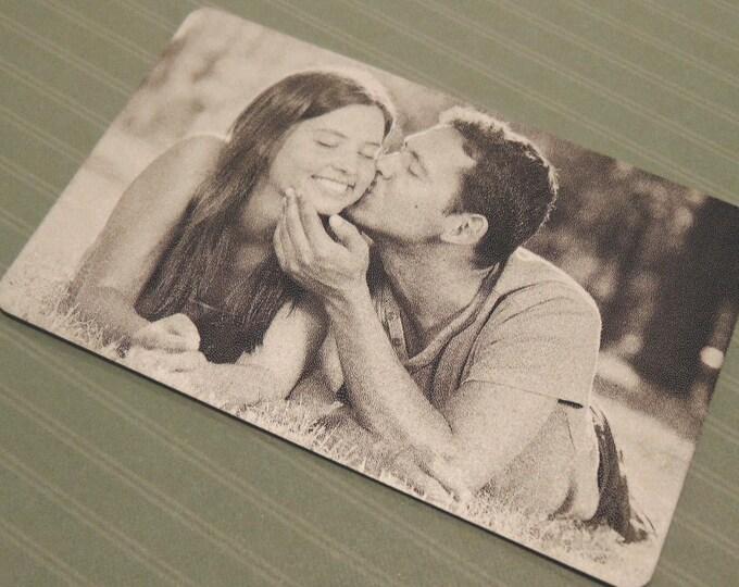 Image Engraved Wallet Insert - Anniversary Card - Back Engraving Too - Him or Her - Laser Engraved - Handwritten Wallet Insert