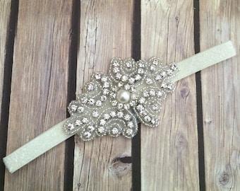 Rhinestone headband, ivory headband, flower girl headband, wedding headband, dressy headband, formal headband, baby headband, flower girl